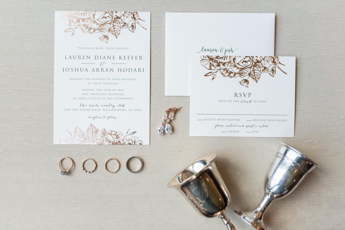 Jewish Summer Wedding in Williamsburg | Rose Gold Wedding Invitations