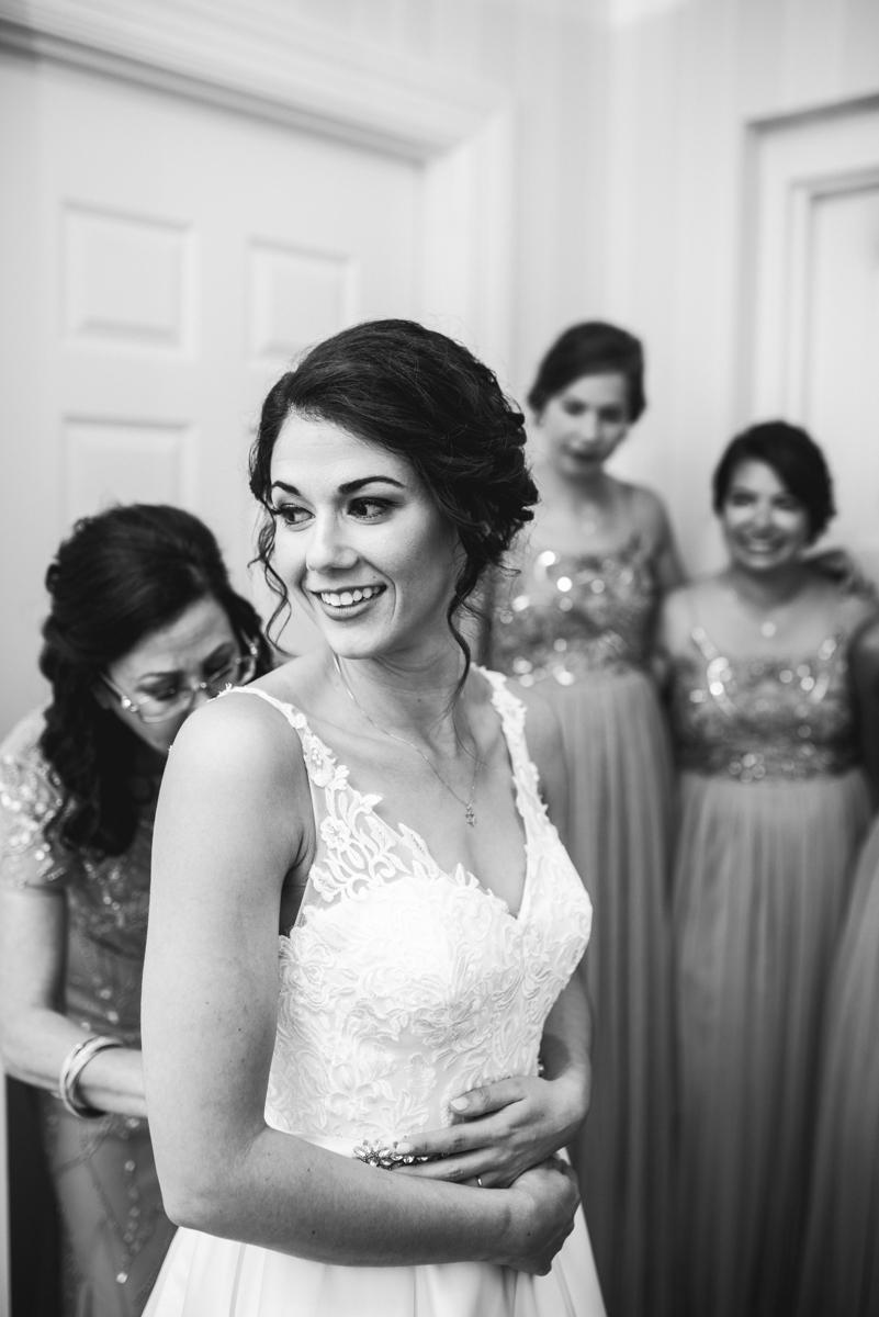 Jewish Summer Wedding in Williamsburg | Bride getting dressed