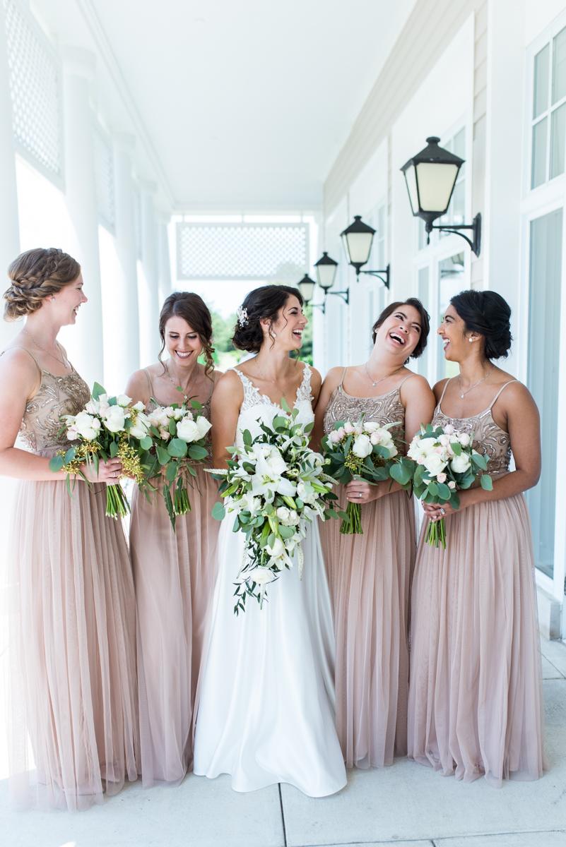 Jewish Summer Wedding in Williamsburg | Champagne bridesmaid dresses