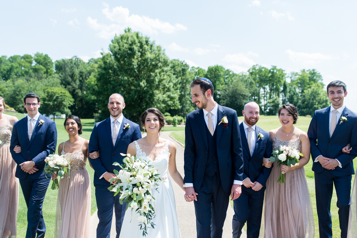 Jewish Summer Wedding in Williamsburg | Outdoor bridal party pictures