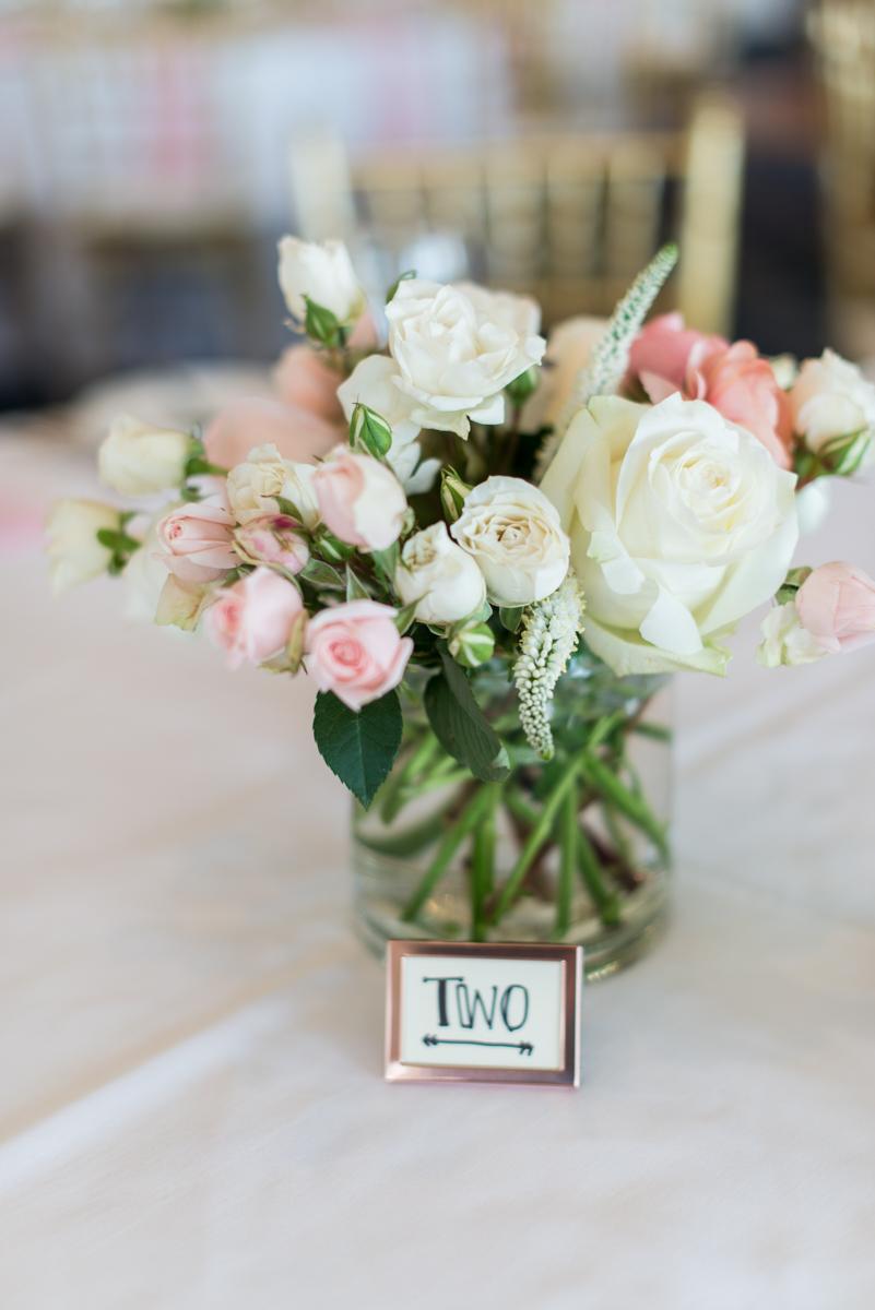 Jewish Summer Wedding in Williamsburg | Blush and white rose wedding centerpiece