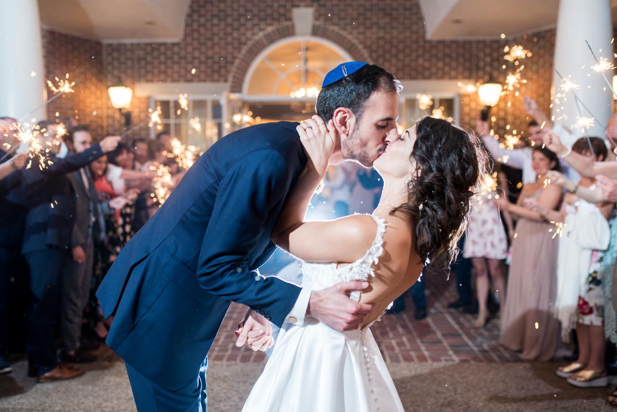 Jewish Summer Wedding in Williamsburg | Sparkler sendoff exit