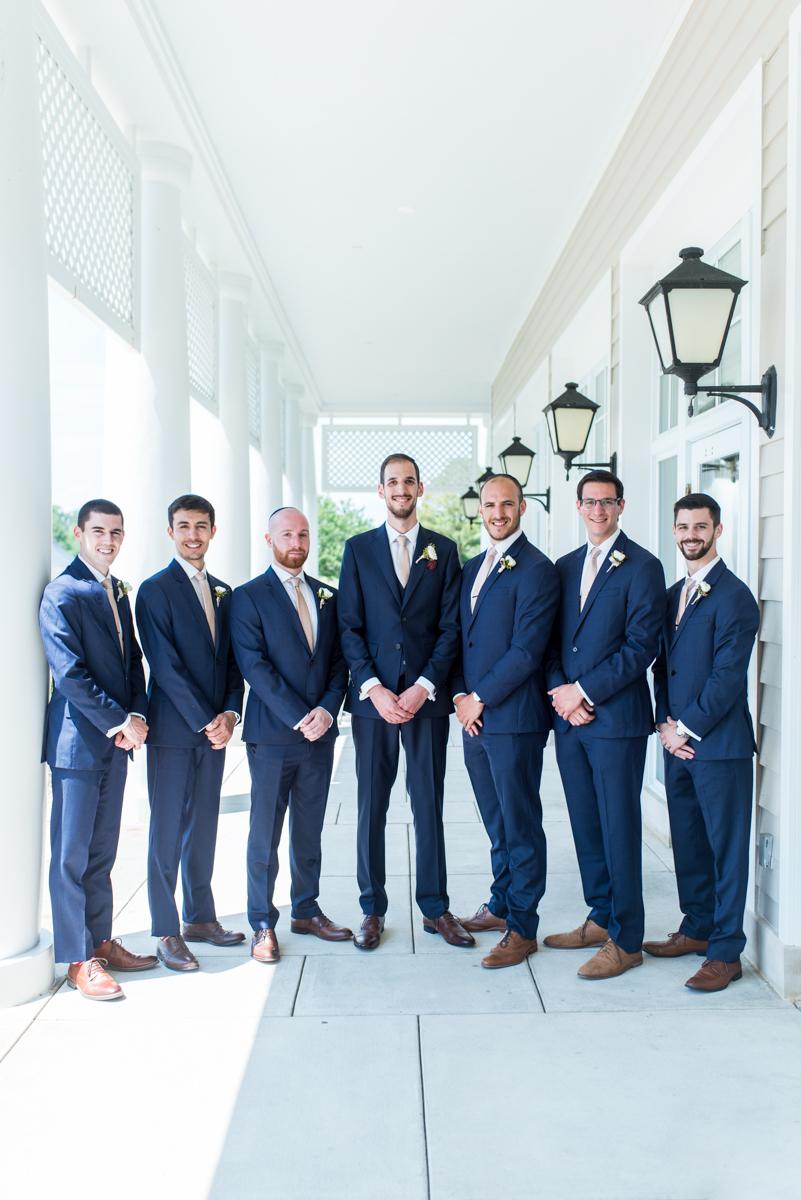 Jewish Summer Wedding in Williamsburg | Groomsmen in navy blue suits