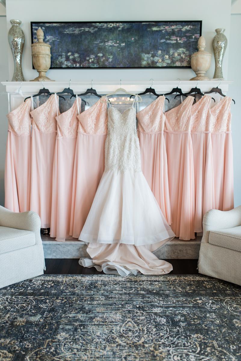 Blush and Gold Military Wedding | Blush Bridesmaid Dresses