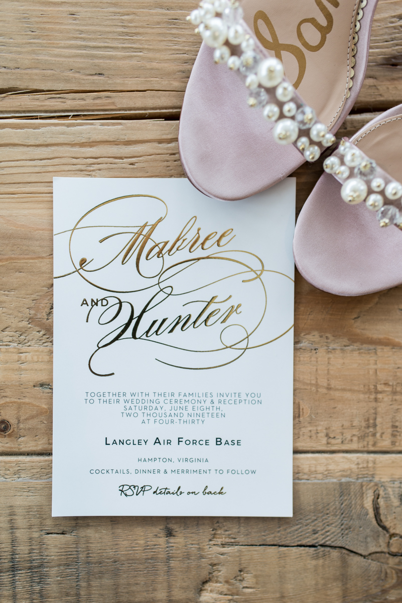 Blush and Gold Military Wedding | White and Gold Wedding Invitations