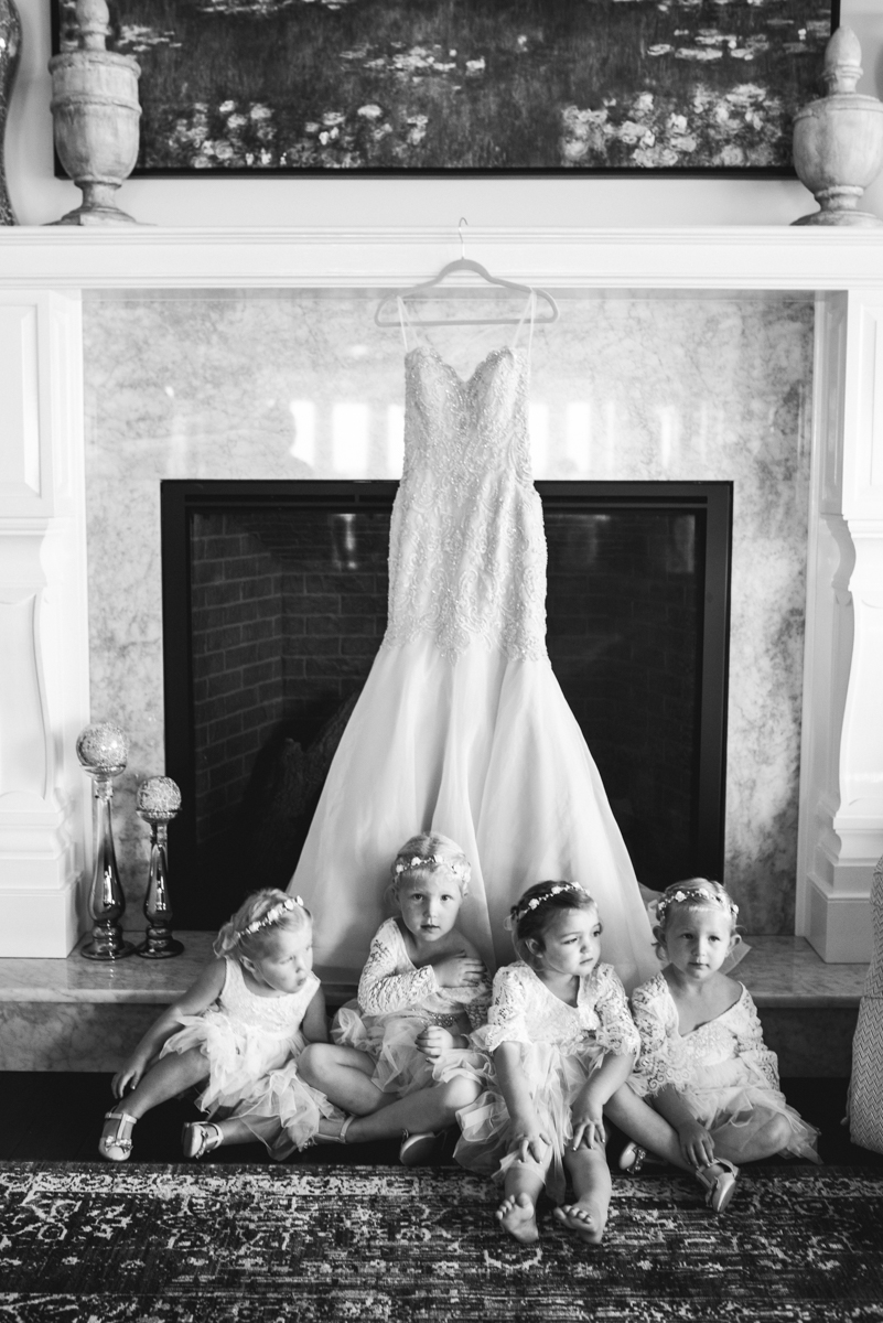 Blush and Gold Military Wedding | Flower Girls in front of Wedding Dress