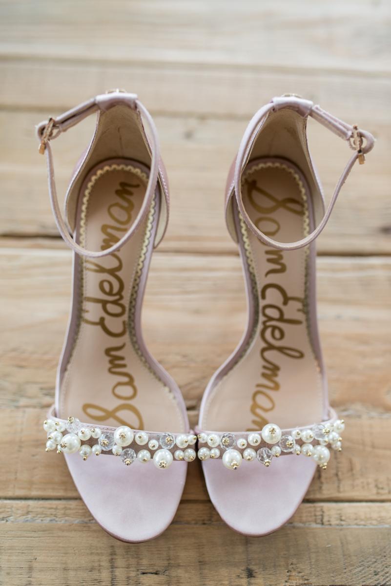 Blush and Gold Military Wedding | Blush Sam Edelman Wedding Shoes