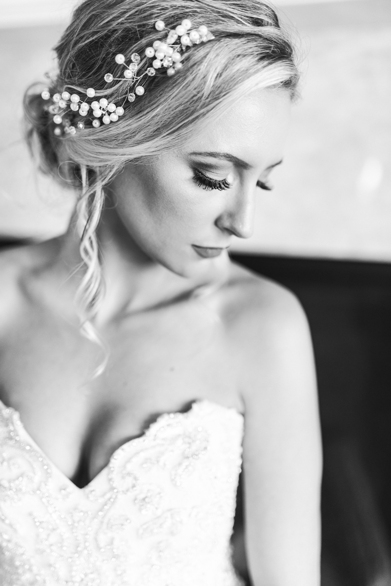 Blush and Gold Military Wedding | Black and white bridal portrait