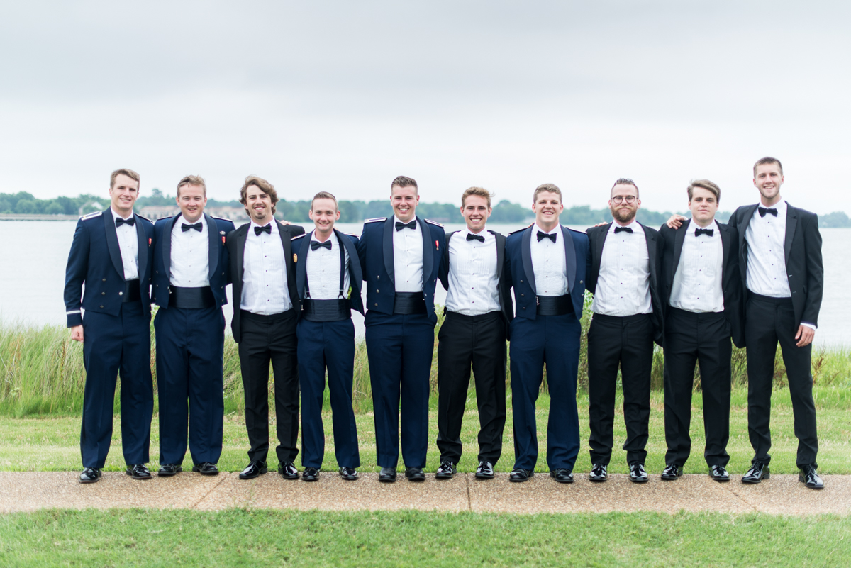 Blush and Gold Military Wedding | Military Groomsmen pictures