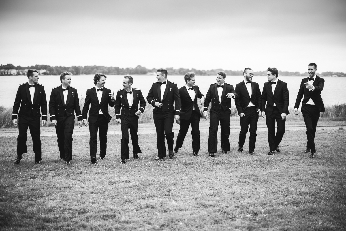 Blush and Gold Military Wedding | Military groomsmen pictures with big bridal party
