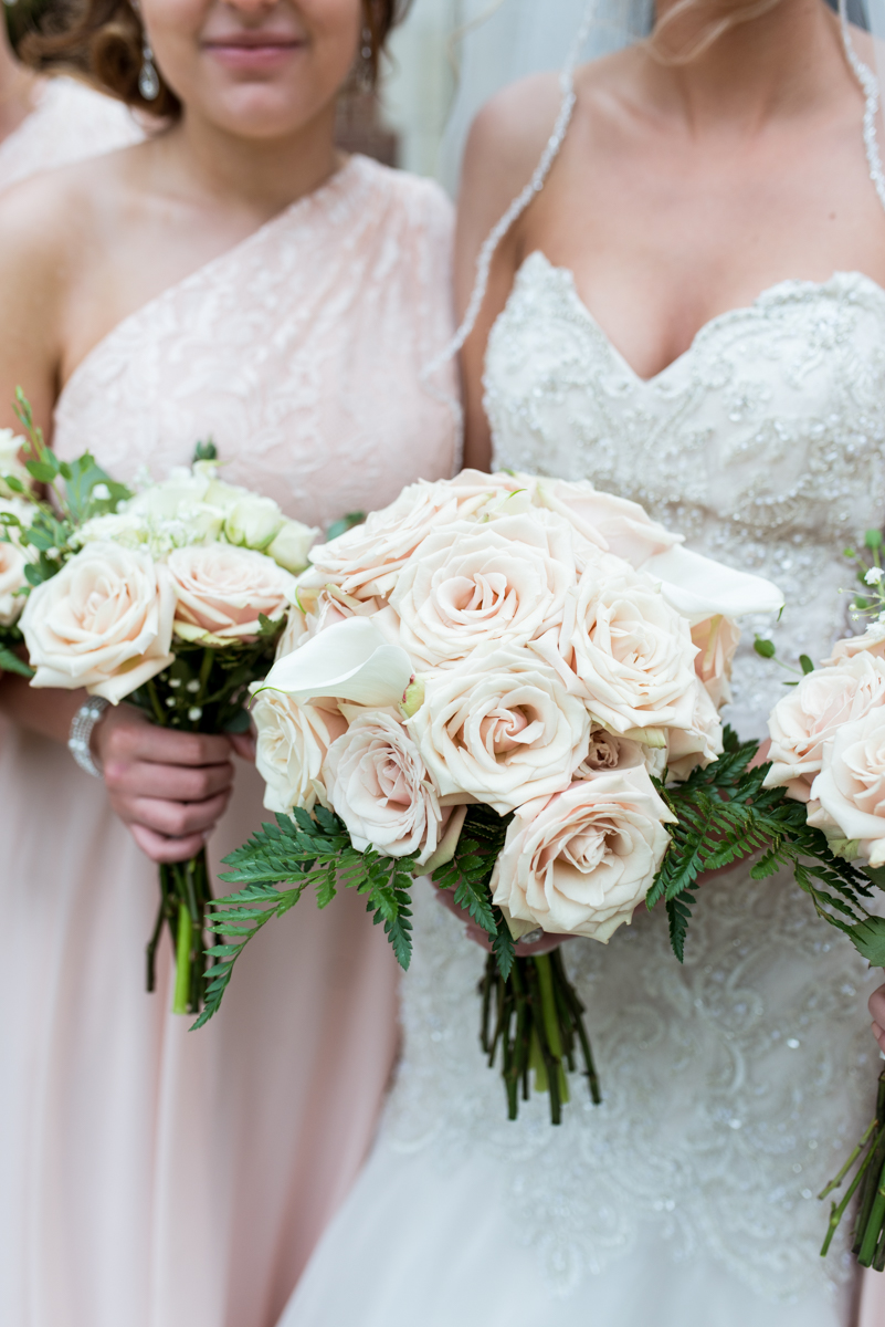Blush and Gold Military Wedding | Blush rose and calla lily wedding bouquet
