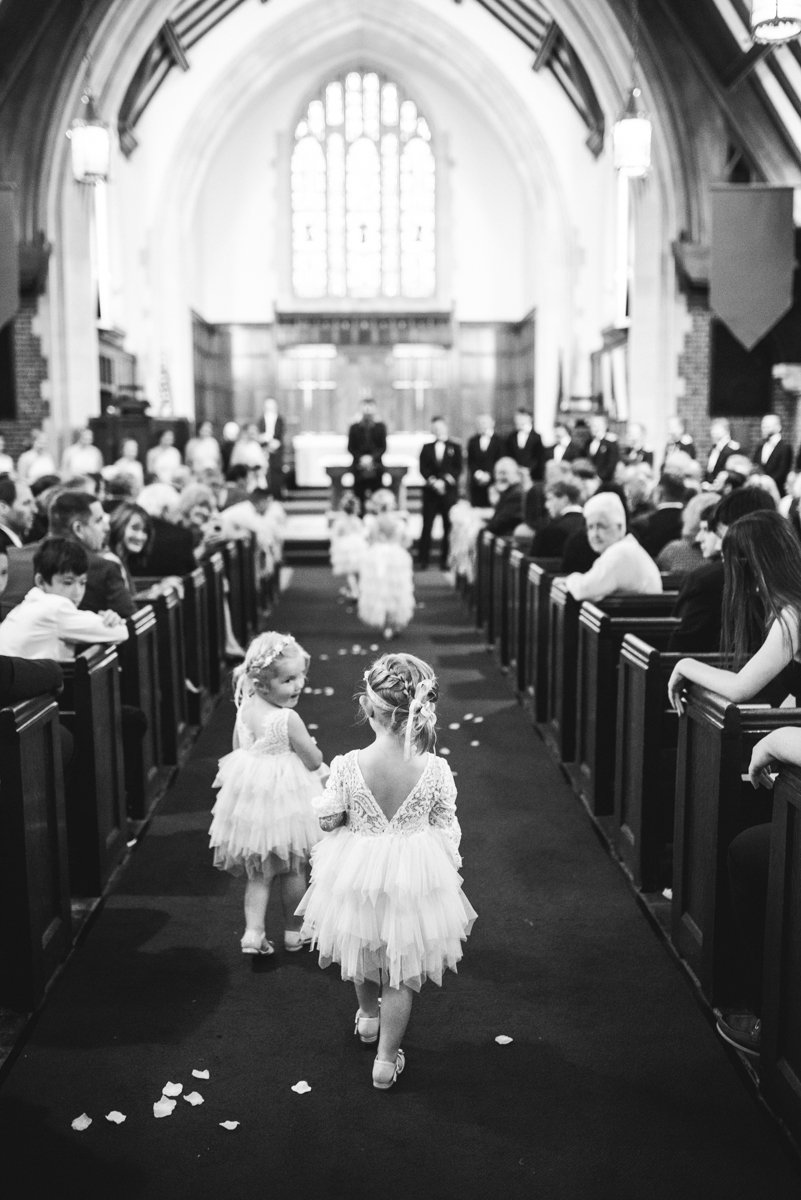Blush and Gold Military Wedding | Flower girls walking down the aisle