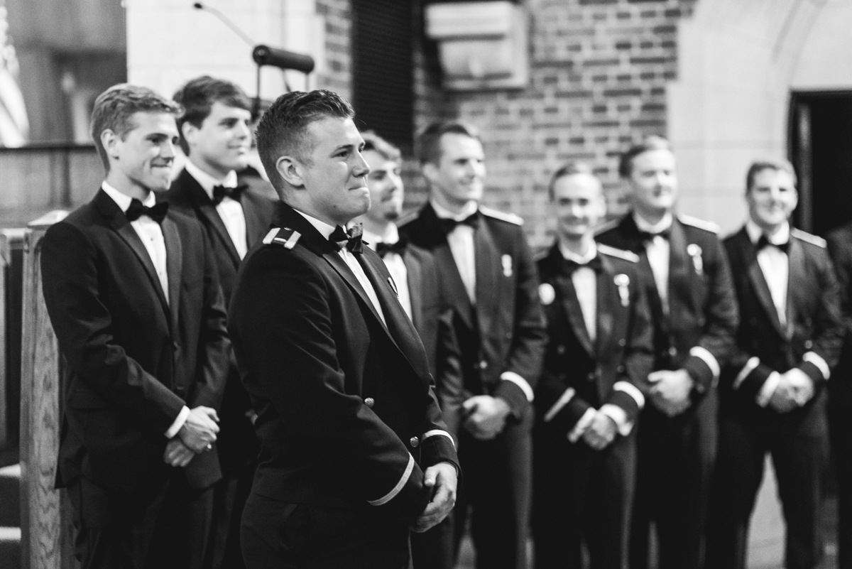Blush and Gold Military Wedding | Groom reacts to seeing his bride