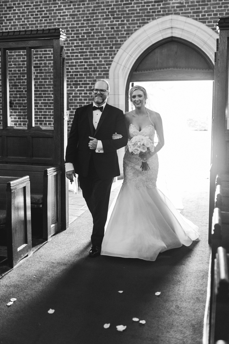 Blush and Gold Military Wedding | Bride walking down the aisle with her dad