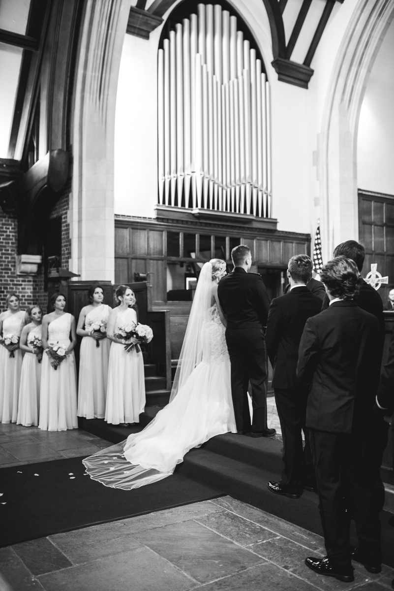 Blush and Gold Military Wedding | Indoor wedding ceremony in chapel