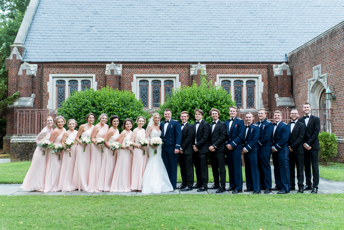 Blush and Gold Military Wedding | Large bridal party photos