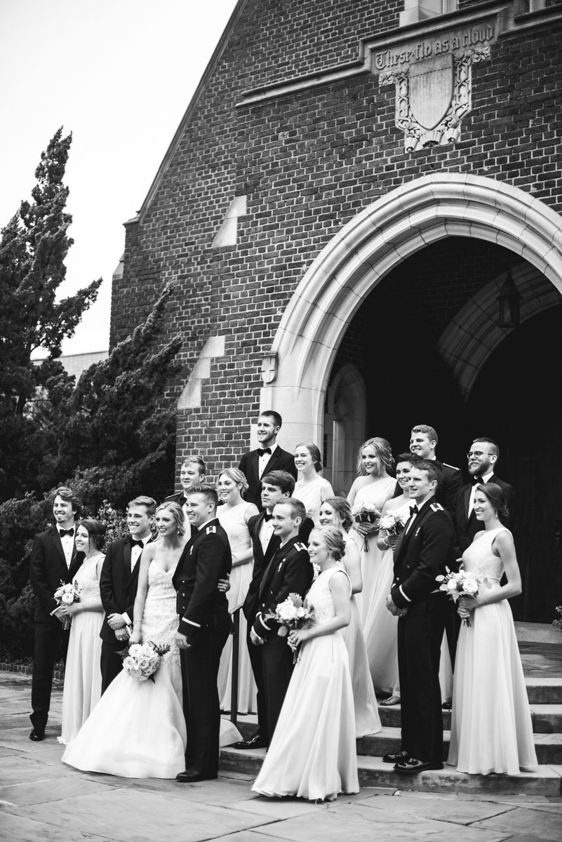 Blush and Gold Military Wedding | Large bridal party pictures
