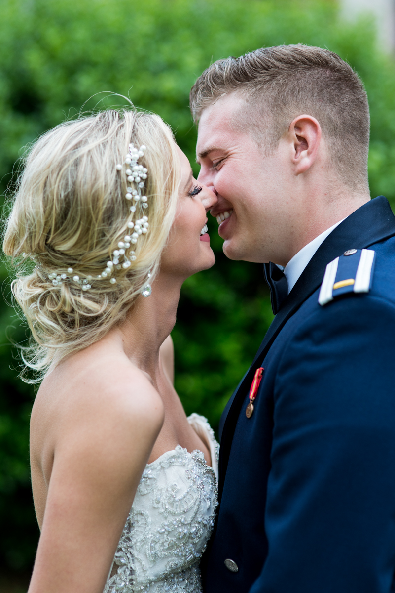 Blush and Gold Military Wedding | Military groom and bride photos