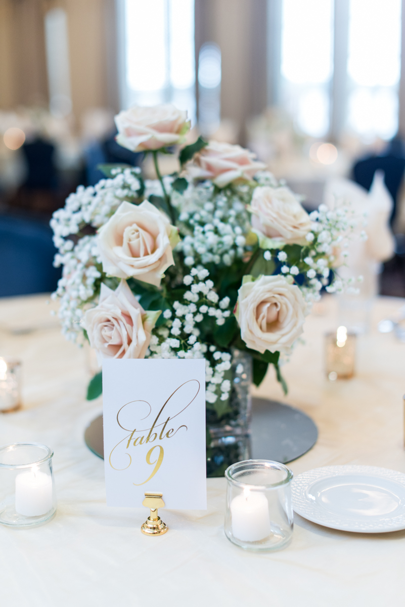 Blush and Gold Military Wedding | Blush and gold wedding centerpieces