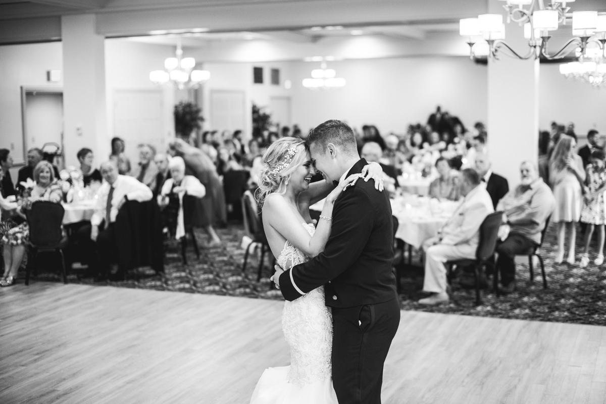 Blush and Gold Military Wedding | Bride and groom first dance