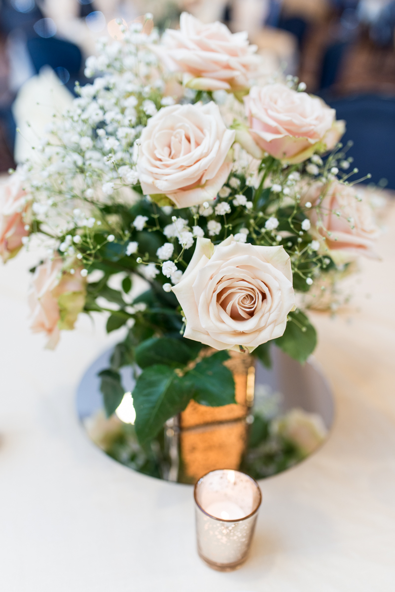 Blush and Gold Military Wedding | Blush rose and gold wedding centerpiece