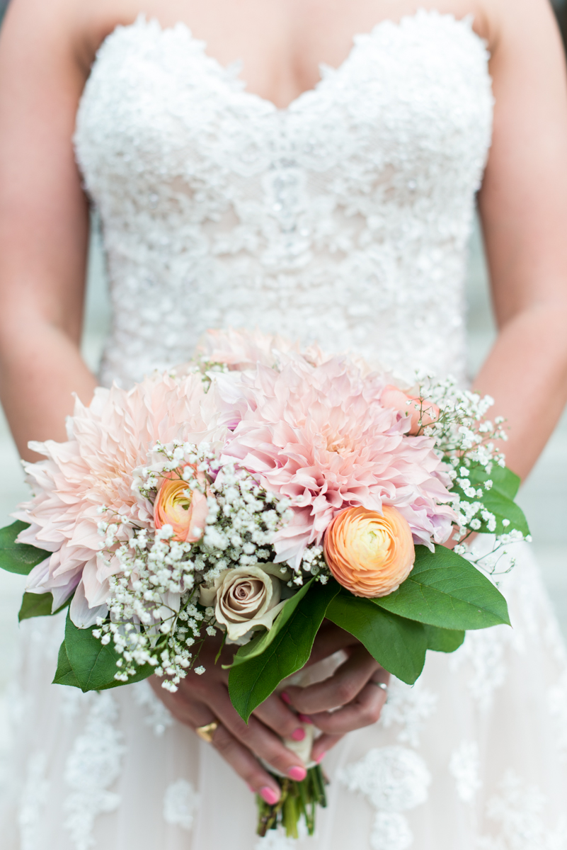 Intimate Downtown Military Elopement | White and Pink Wedding Bouquet