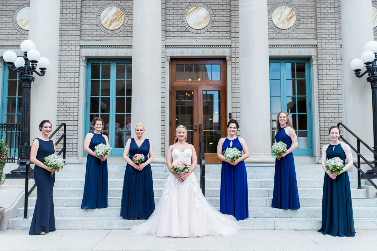 Intimate Downtown Military Elopement | Blue Mismatched Bridesmaid Dresses