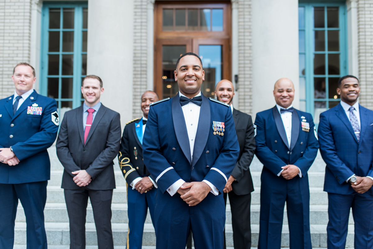 Intimate Downtown Military Elopement | Military Groomsmen