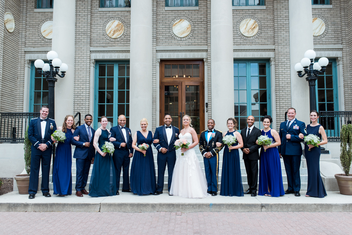 Intimate Downtown Military Elopement | Navy Blue Bridal Party