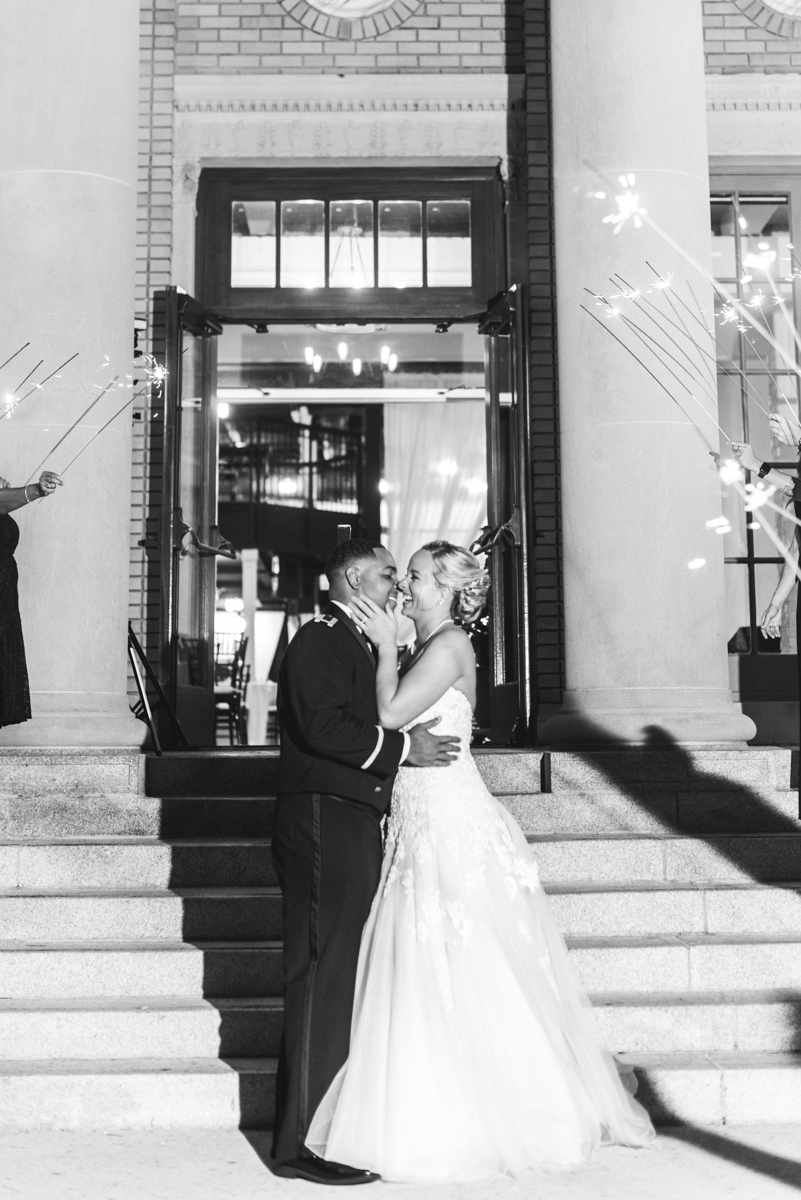 Intimate Downtown Military Elopement | Wedding Sparkler Exit
