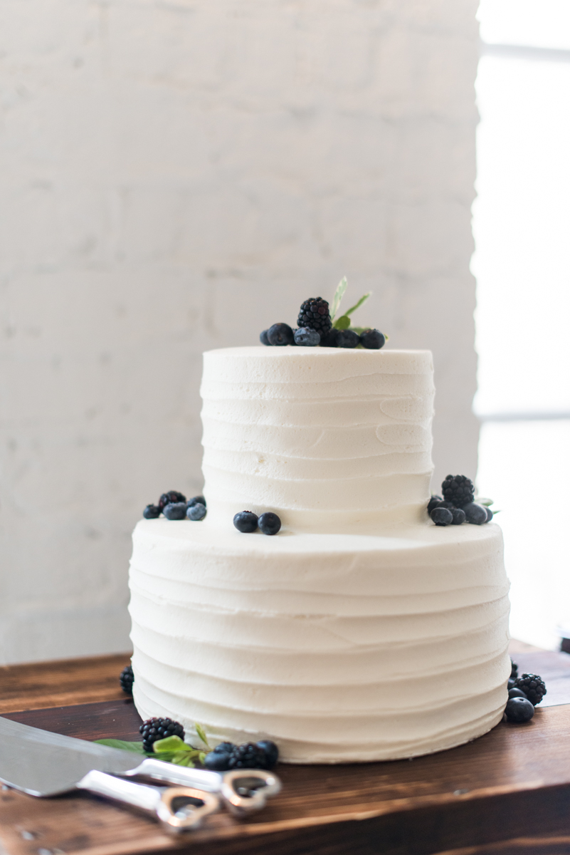 Intimate Downtown Military Elopement | Simple Blueberry Wedding Cake