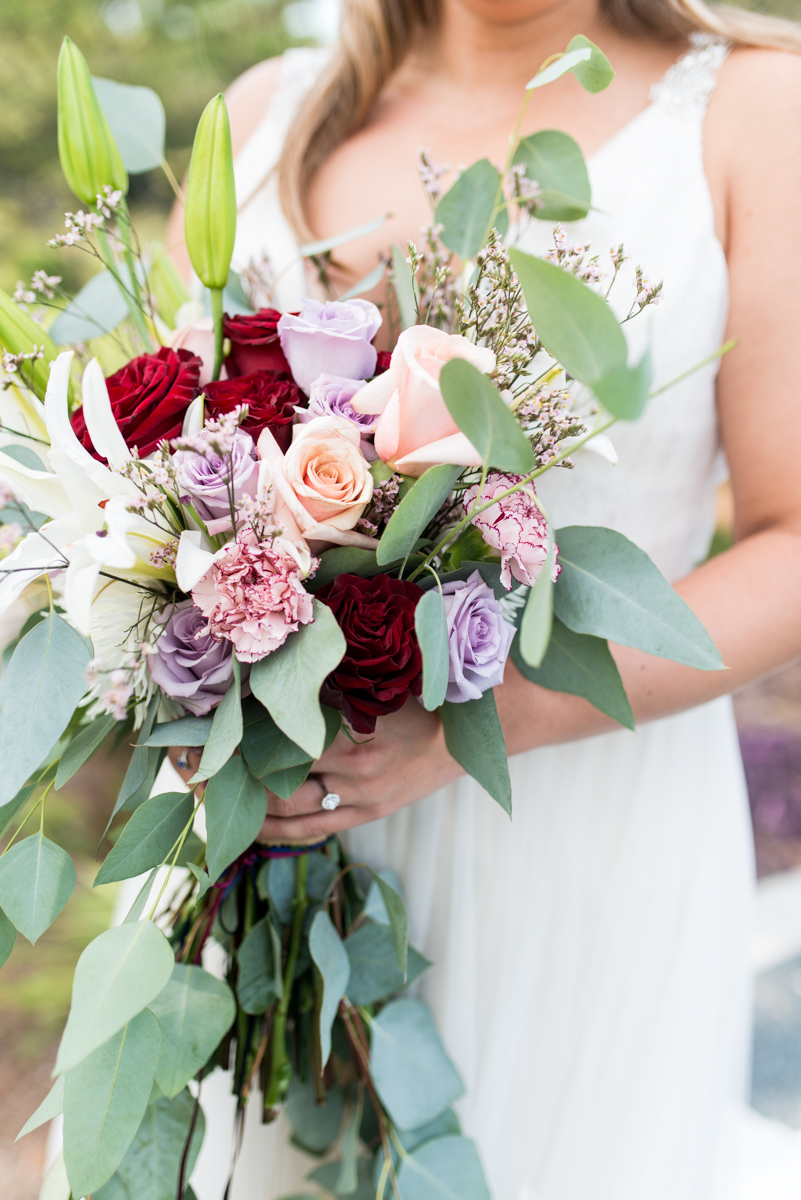 Bright Fall DIY Wedding | Eucalyptus and Rose Bouquet