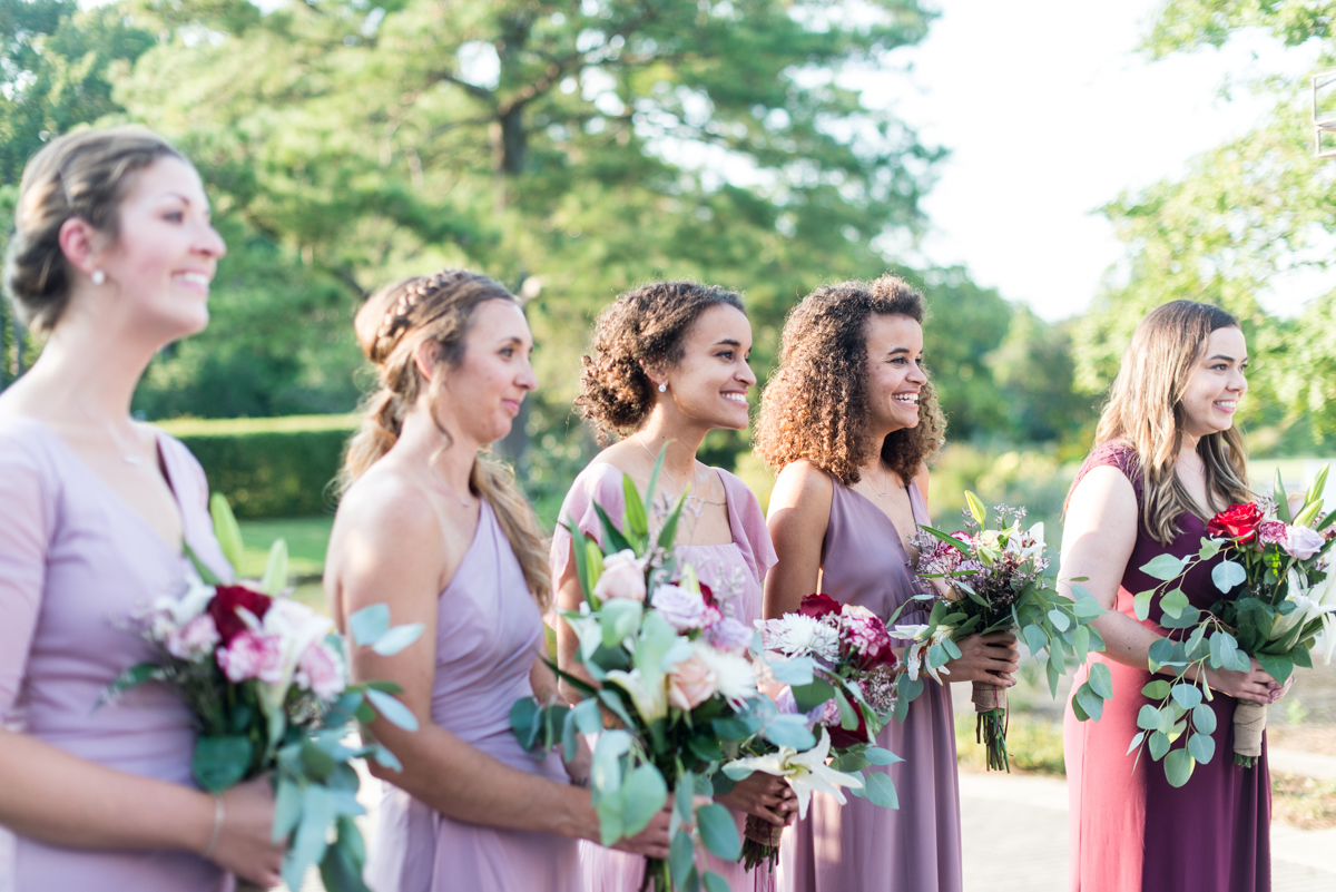 Bright Fall DIY Wedding | Bridesmaids in Purple dresses