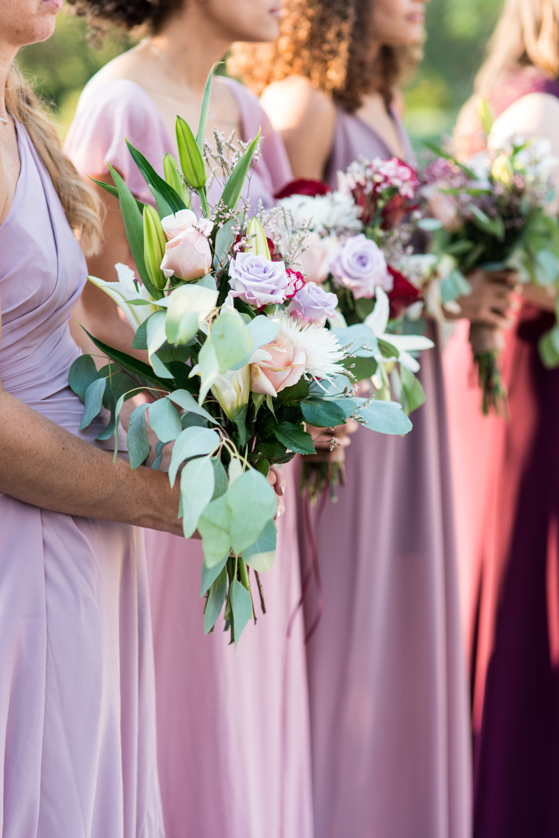 Bright Fall DIY Wedding | Eucalyptus and rose bridesmaid bouquets