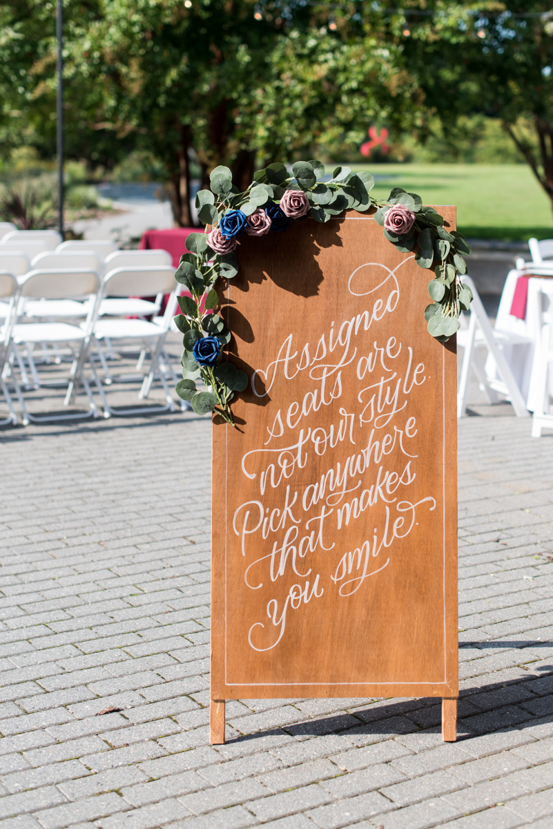 Bright Fall DIY Wedding | Wedding ceremony sign