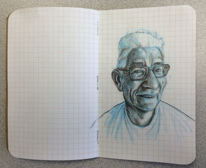 stole a pic of my dad in his pj's and drew him on the plane back to Georgia....(graphite, colored pencil on paper, 7 x 5.5 inches, Dec. 2015)