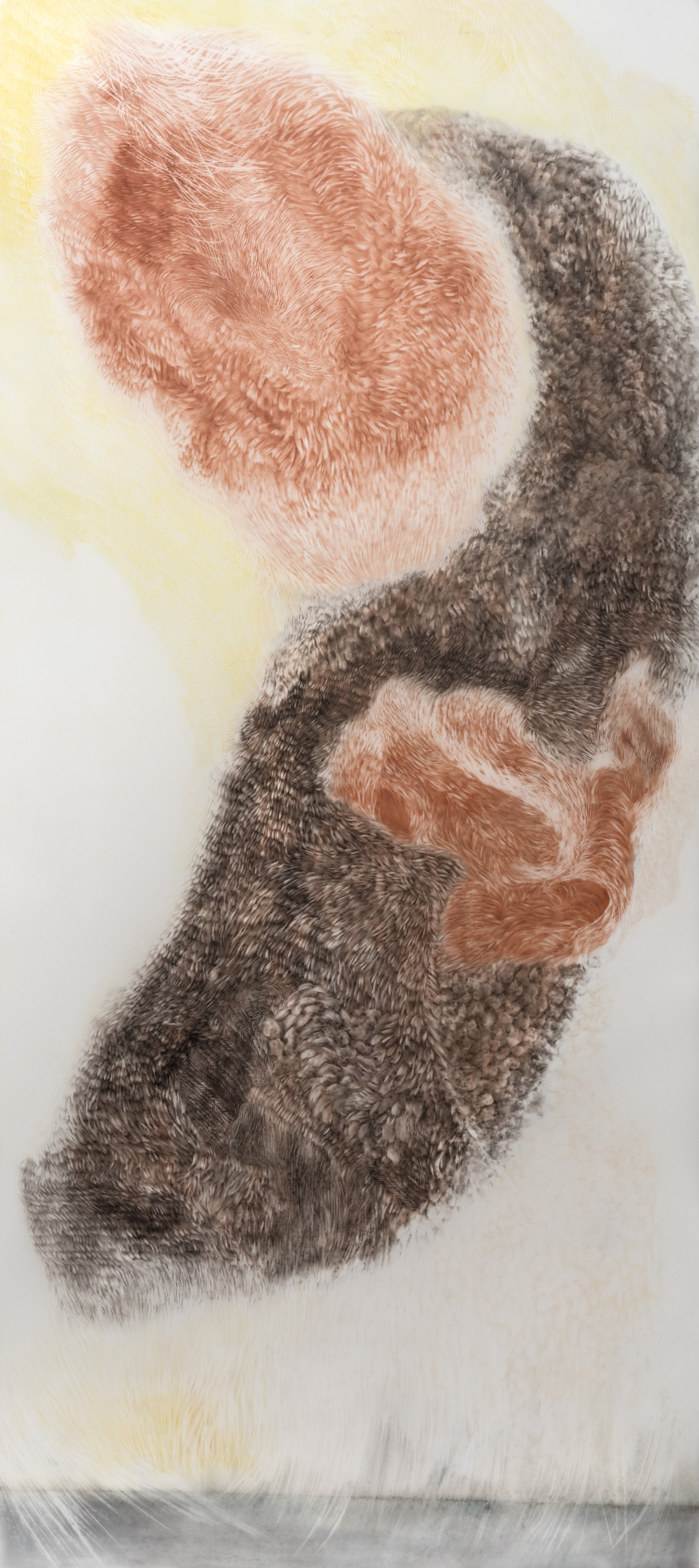 OBSERVED AND RECORDED PERMUTATION OF THE HOLY SPIRIT IX   PASTEL ERASING ON DURA-LAR  34 IN. X 79 IN. unframed  price $4,000