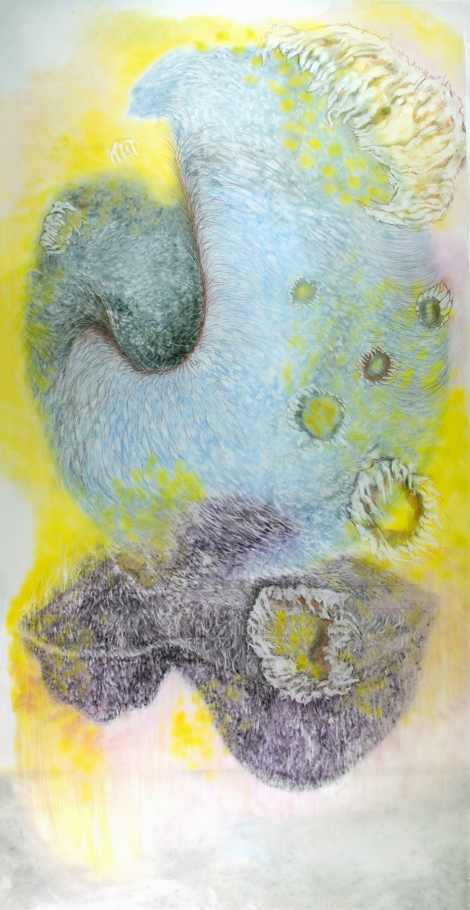 OBSERVED AND RECORDED PERMUTATION OF THE HOLY SPIRIT XV   PASTEL ERASING ON DURA-LAR  40 IN. X 79 IN. unframed  price $4,000