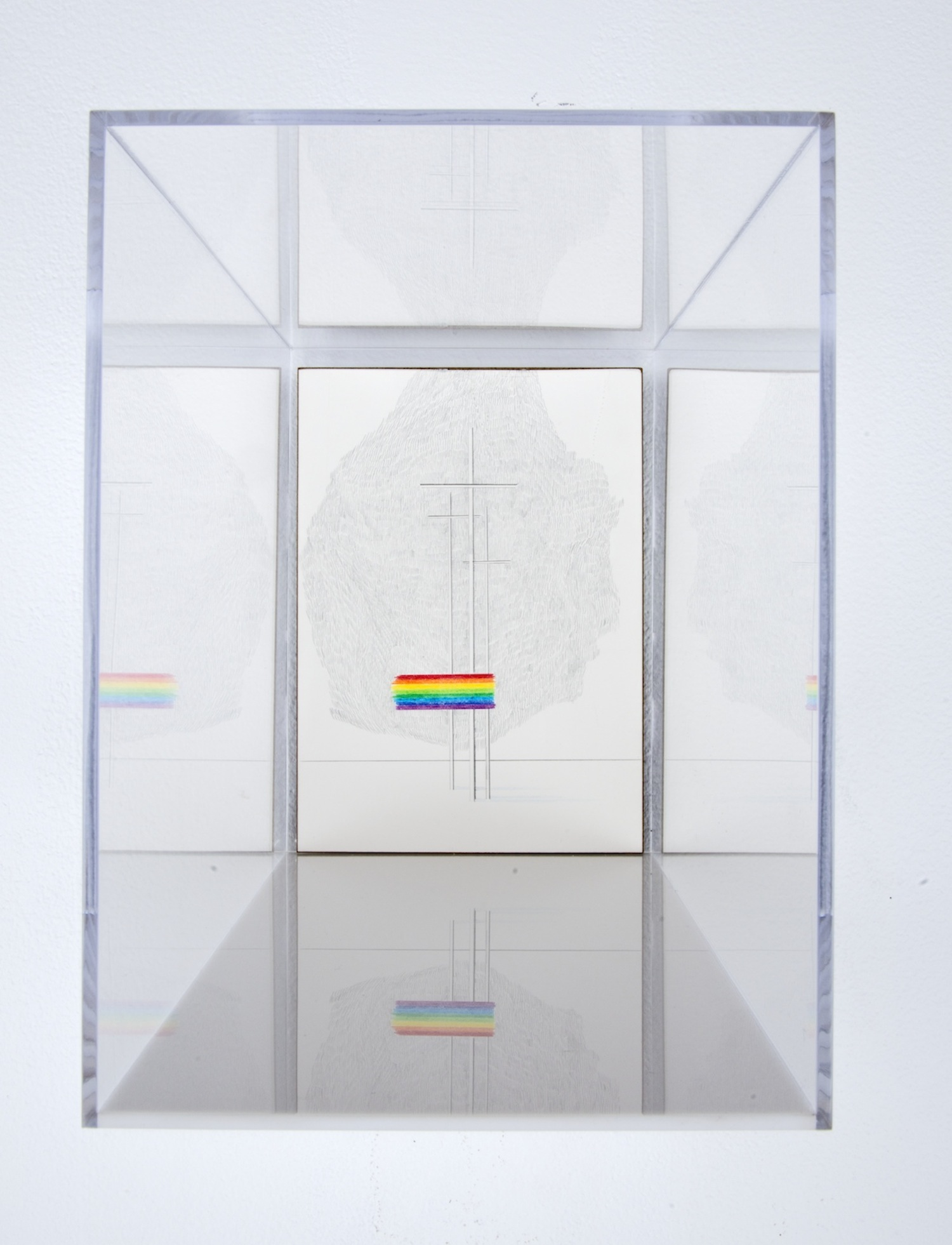 GOD'S COVENANT WITH HIMSELF IN A PRISM 03  colored pencil on clayboard, plexiglass  12in. x 5in. x 7in.
