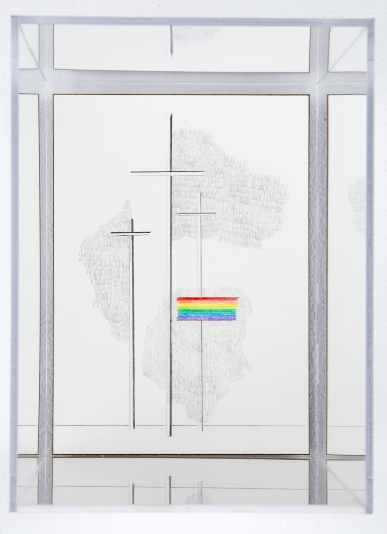 GOD'S COVENANT WITH HIMSELF IN A PRISM 02  colored pencil on clayboard, plexiglass  12in. x 5in. x 7in.