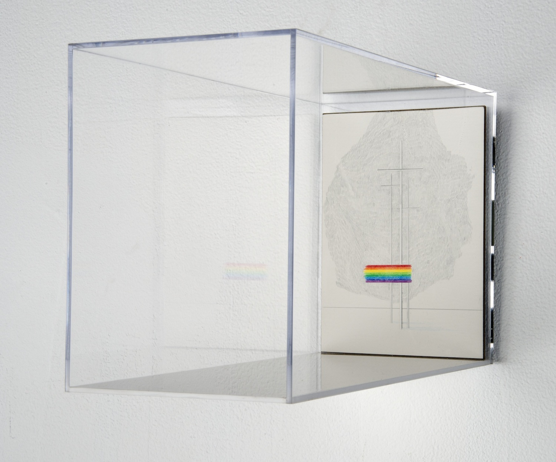 GOD'S COVENANT WITH HIMSELF IN A PRISM 04  colored pencil on clayboard, plexiglass  12in. x 5in. x 7in.