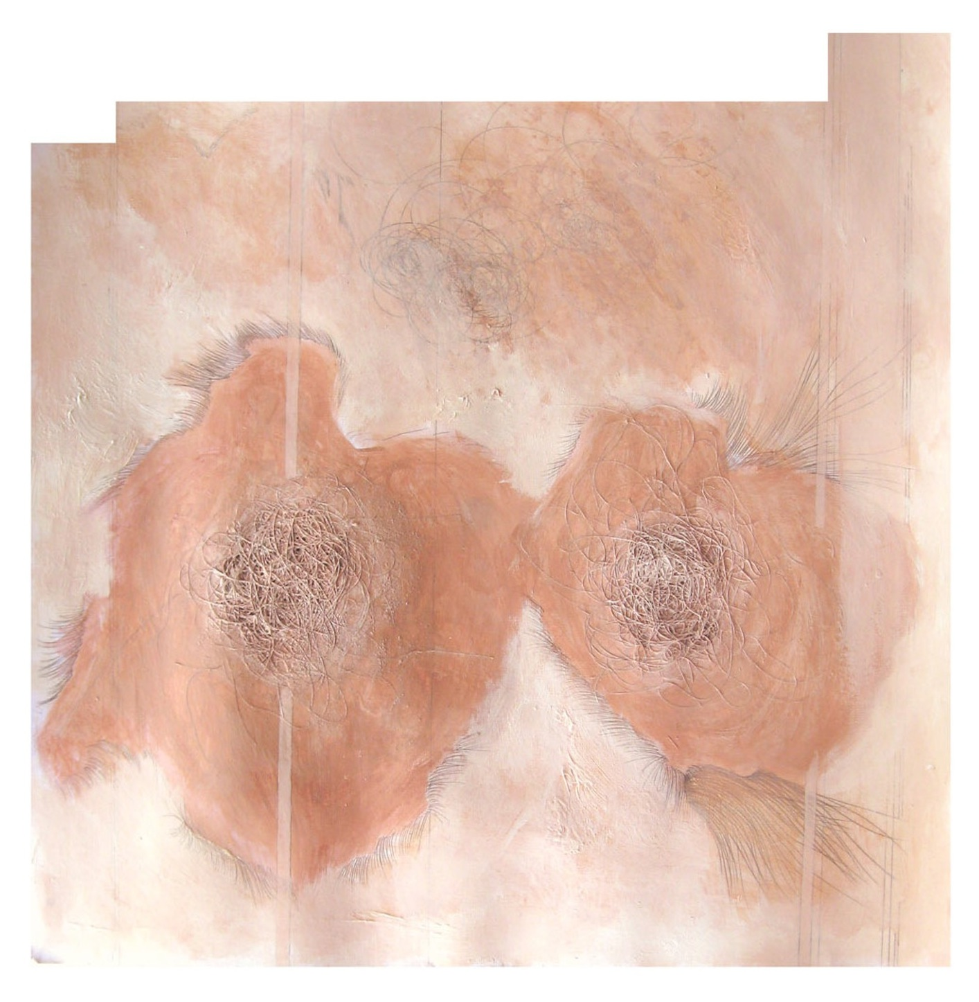 DOPPELGANGER SERIES: ATUNEMENT  artist's hair, salt, acrylic, graphite on paper with leather frame  16in. x 16in.  Private Collection