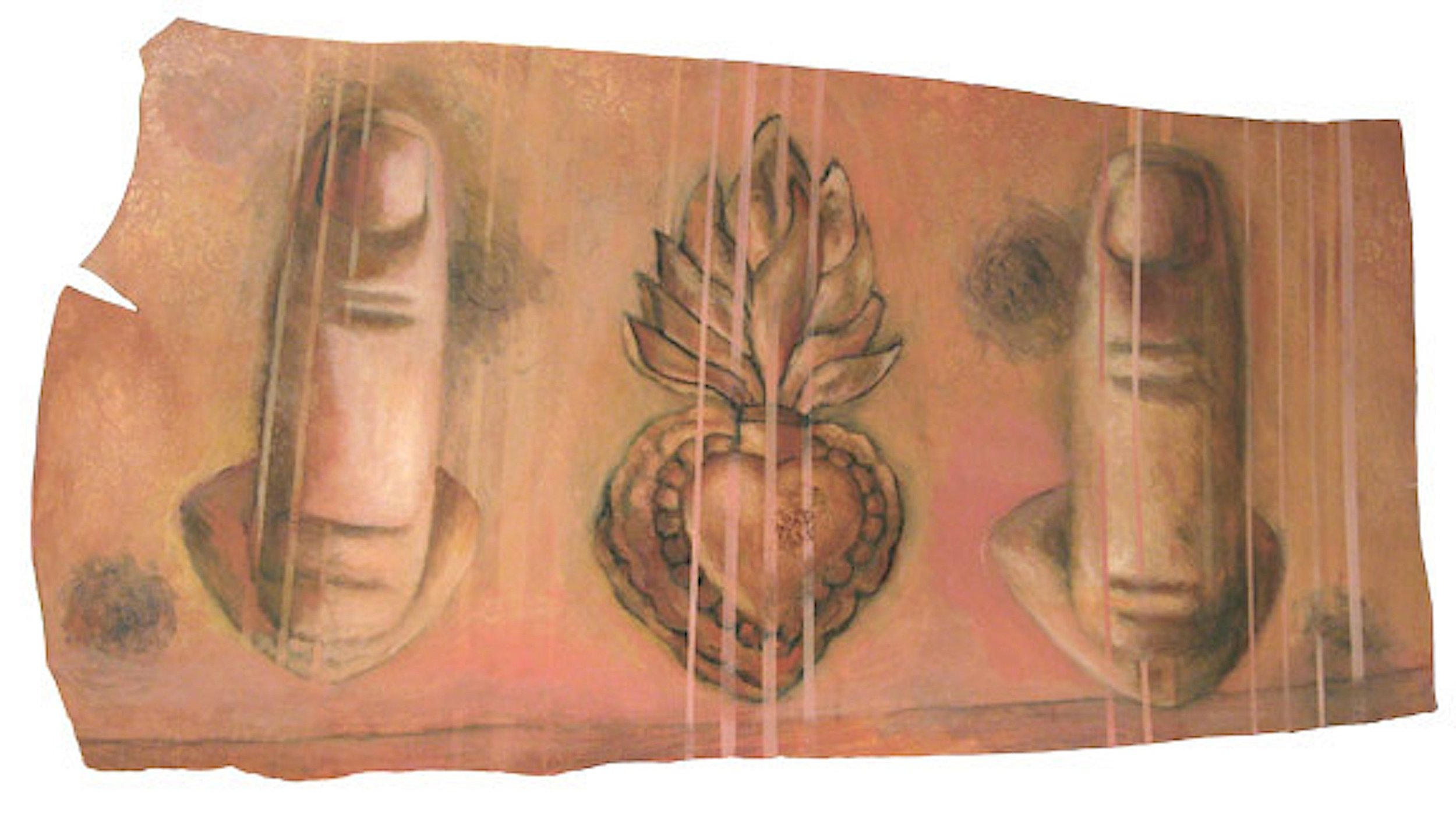 FOLLOWING PALINDROME  artist's hair, oil, graphite on leather on wood  24in. x 40in.