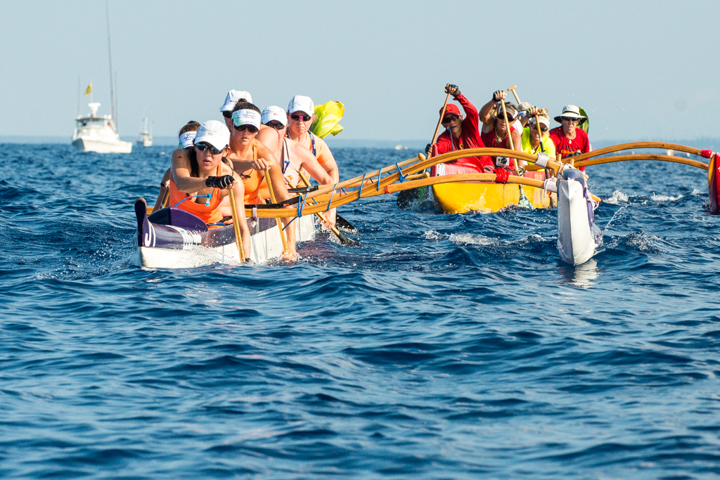 GRPC Women's Team from Victoria, Canada paddling in the 18mile long Queen Lili'uokalani Canoe Race, Hawaii.