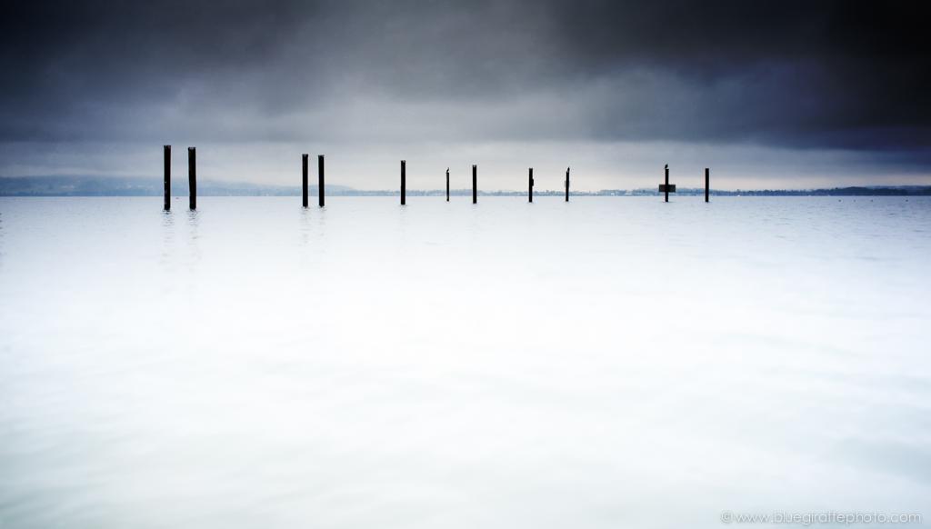 Mooring pylons at Sidney Spit, Vancouver Island. Fuji X100, ISO 200 f16 1/2 sec.
