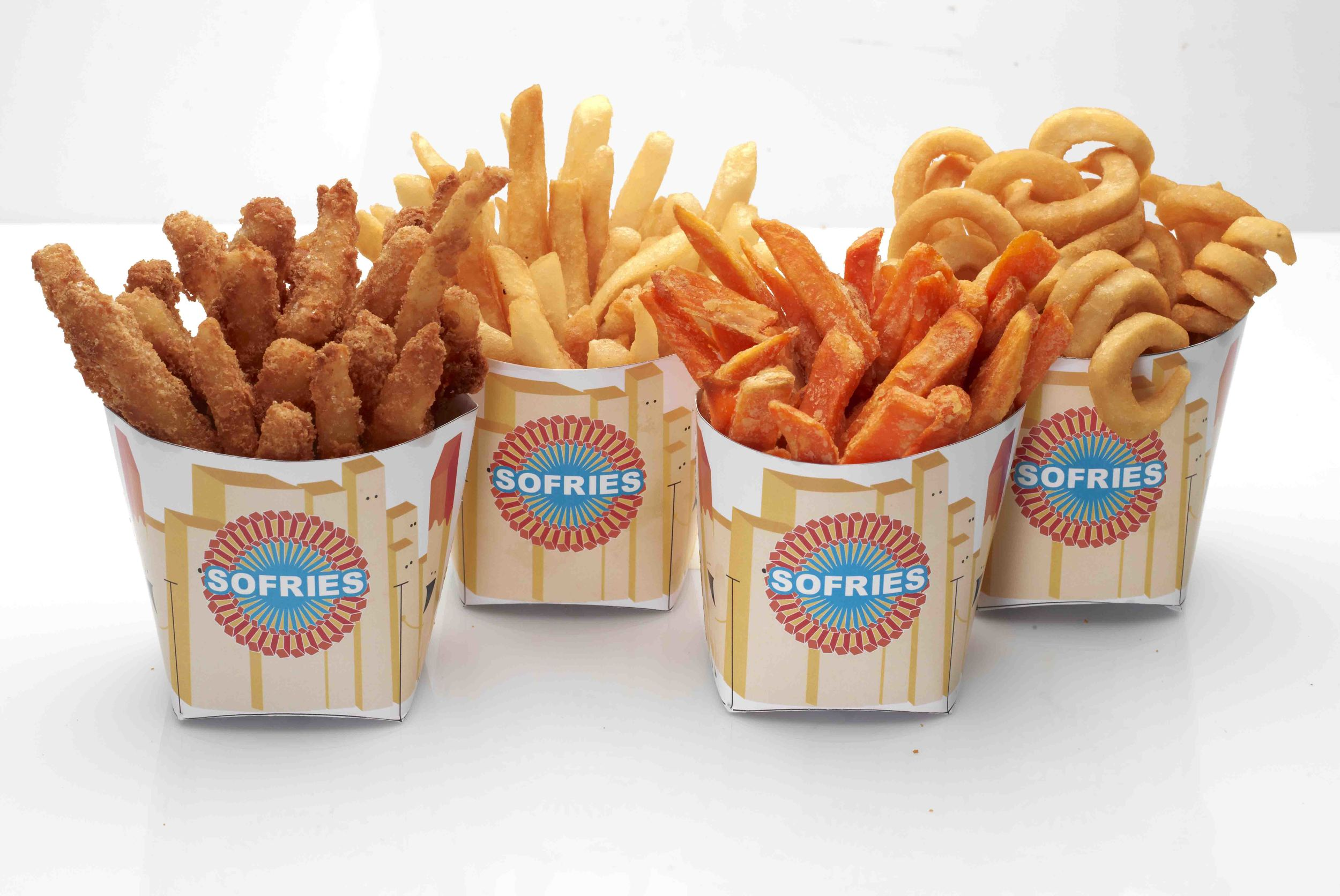 Sofries selection - cereal, regular, sweet potato and curly