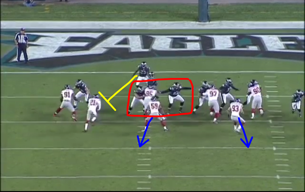 McCoy blocks the blitzer, but Watkins doesn't get help from Reynolds on Rocky Bernard.