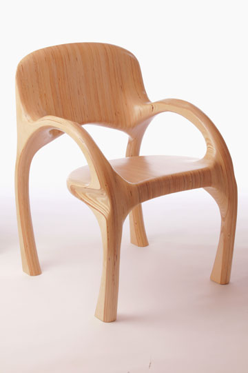 Titled: Chair in B-flat Major Opus 41. Commisioned for our local symphony as a fund raiser. Completely hand carved from Baltic Birch Plywood