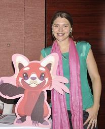 App Author, Lauren Freeman with Laloo the Red Panda