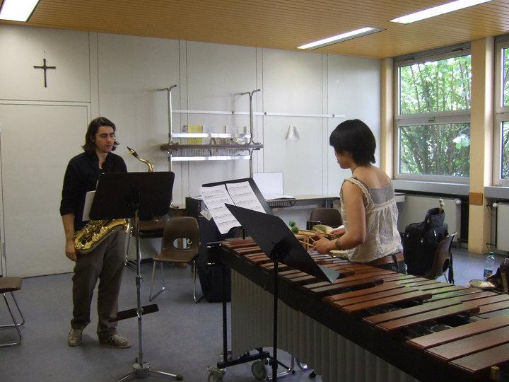 Rehearsing in Darmstadt, Germany